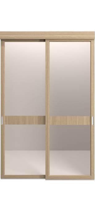 Раздвижная перегородка Original со стеклом и интарсией янтарный дуб, кортекс