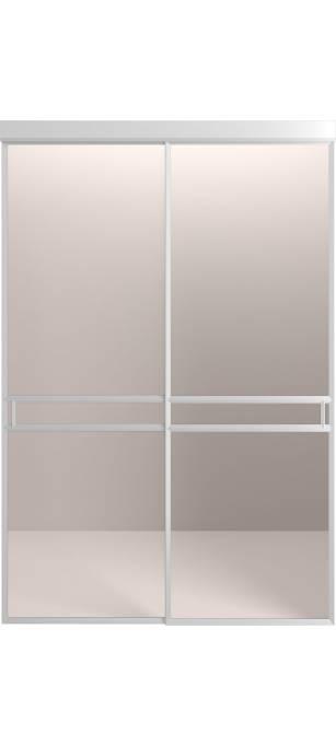 Раздвижная перегородка со стеклянной интарсией Серебро анодированное